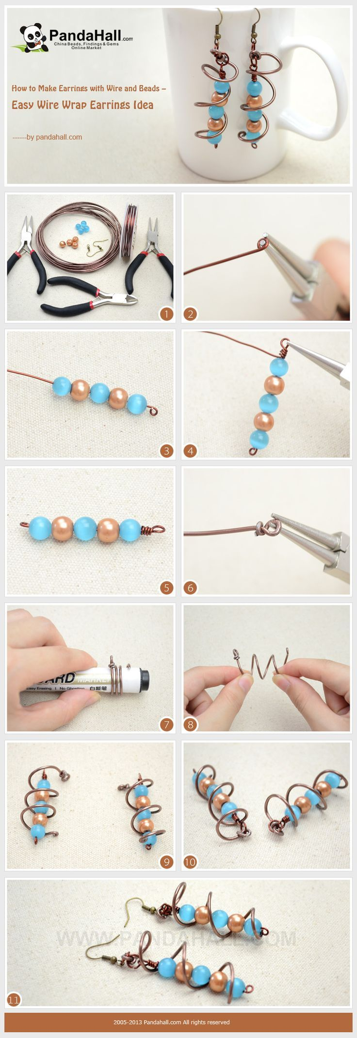 How to Make Earrings with Wire and Beads – Easy Wire Wrap Earrings ...