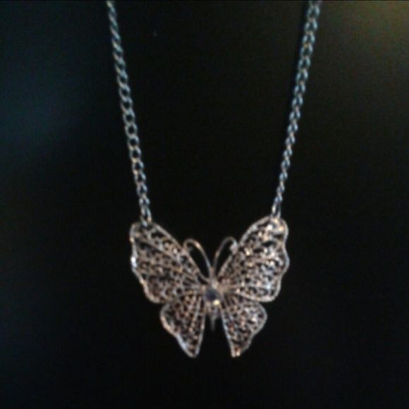 Butterfly necklace Silver tone butterfly necklace with free bracelet. Jewelry Necklaces