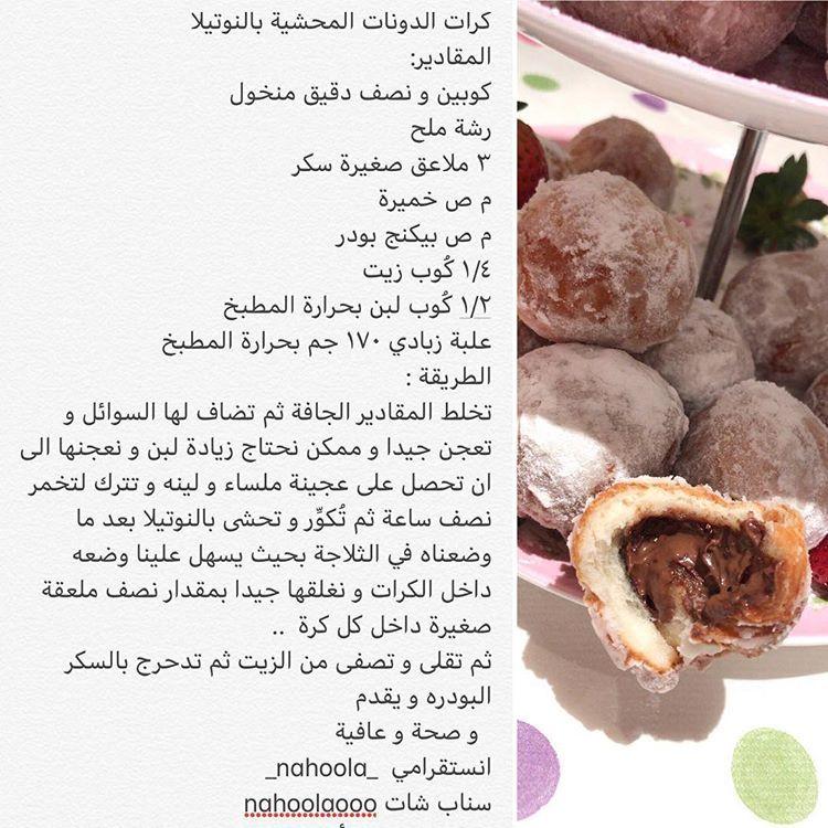 كرات الدونات المحشية بالنوتيلا Food Recipes Beef