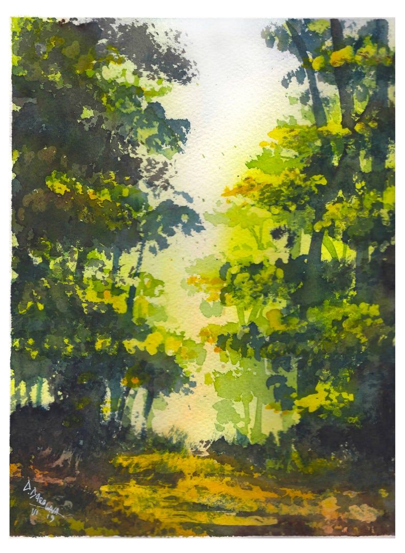 Original Watercolor Painting Green Forest Landscape Aquarelle