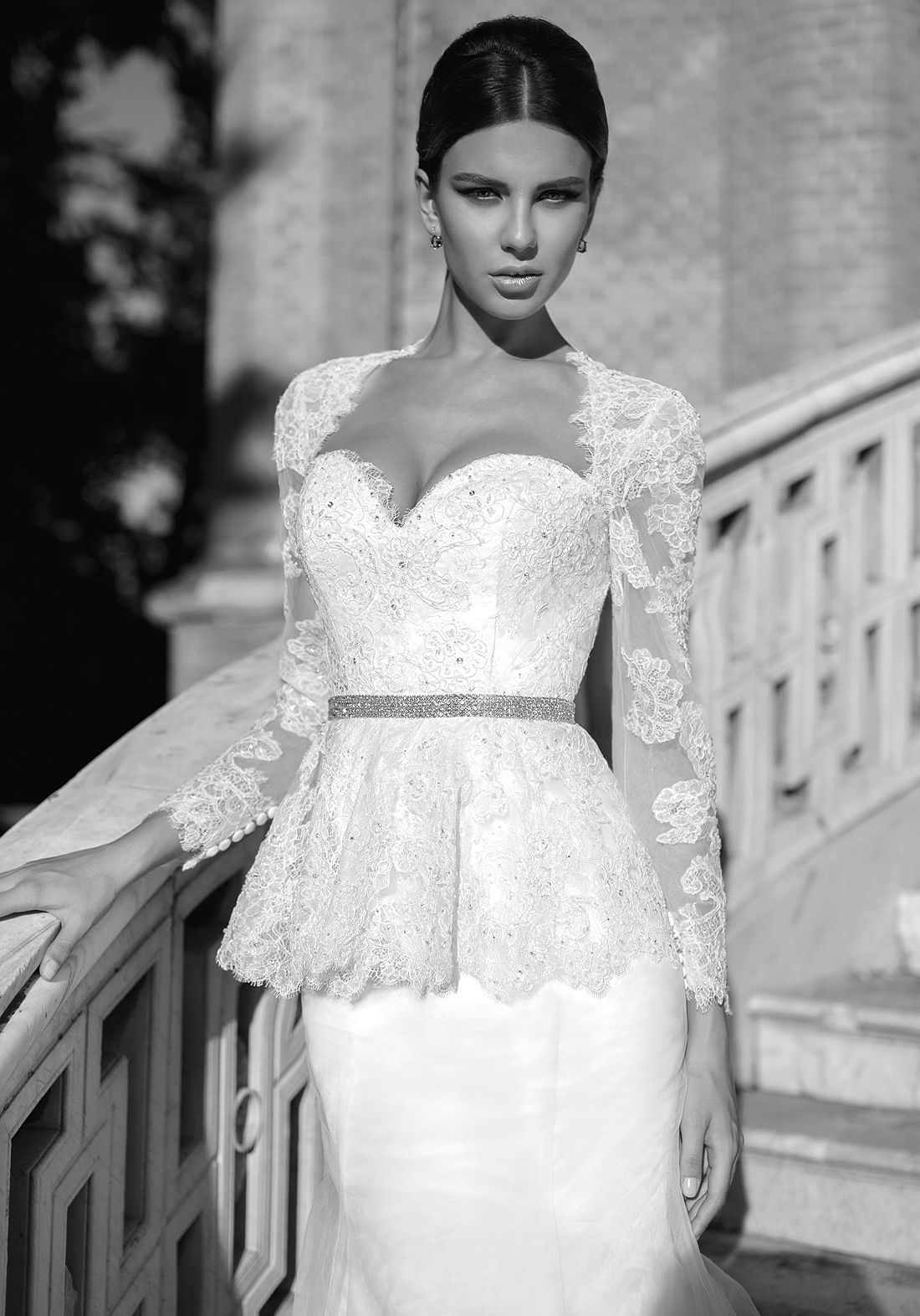 Isabel sensual open back mermaid wedding dress with lace for Peplum dresses for weddings