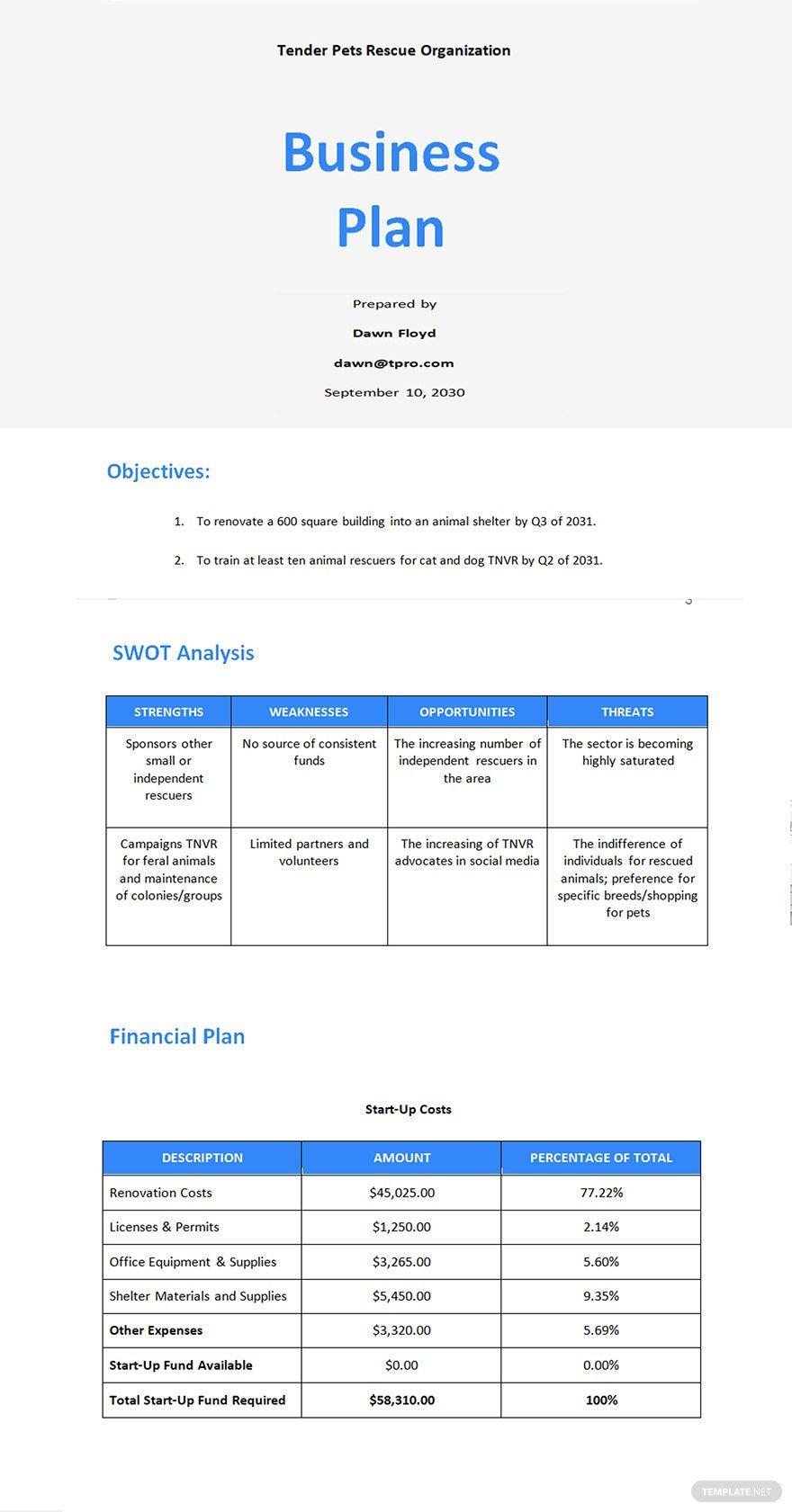 Startup Nonprofit Business Plan Template Word In 2020 Business Plan Template Business Planning How To Plan