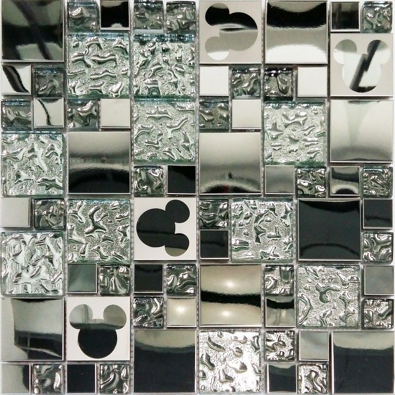 Tile & Decor Tst Stainless Steel Mickey Mouse Tiles Mirrored Glass Water Drops