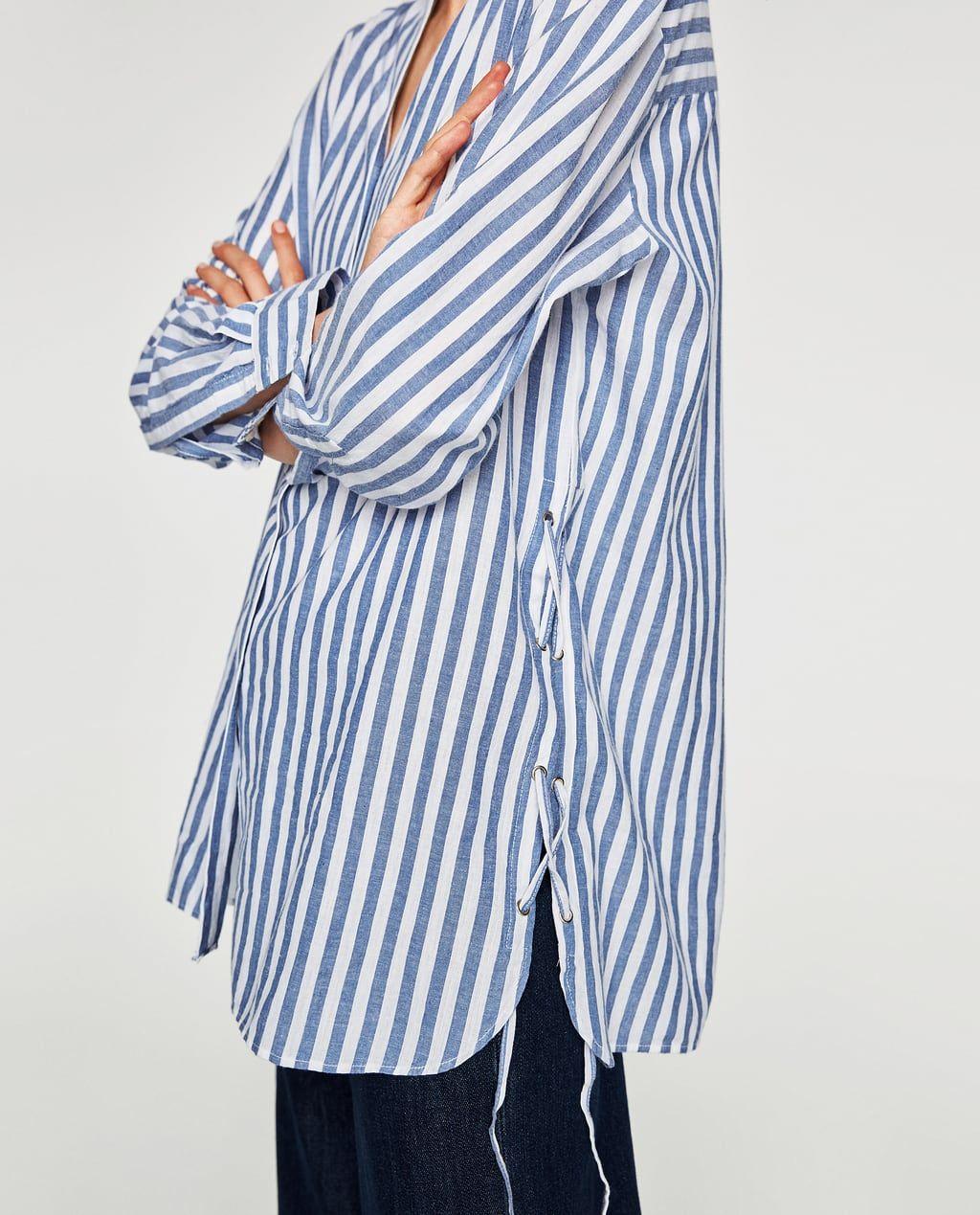 Yanlari Bagcikli Gomlek Ust Giyim Trf Zara Turkiye Ust Giyim Gomlek Kadin