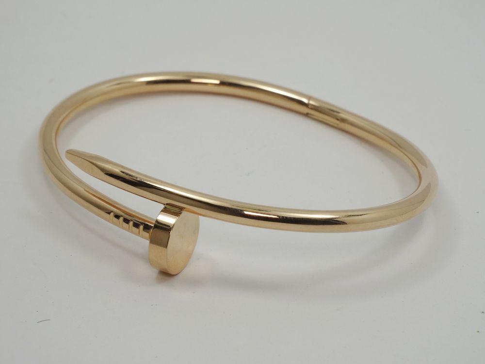 Cartier Sz 18 Juste Un Clou 18k Rose Gold Nail Bangle Bracelet Cartier Bangle Rose Gold Bangle Bracelet Bracelets Rose Gold Bangle