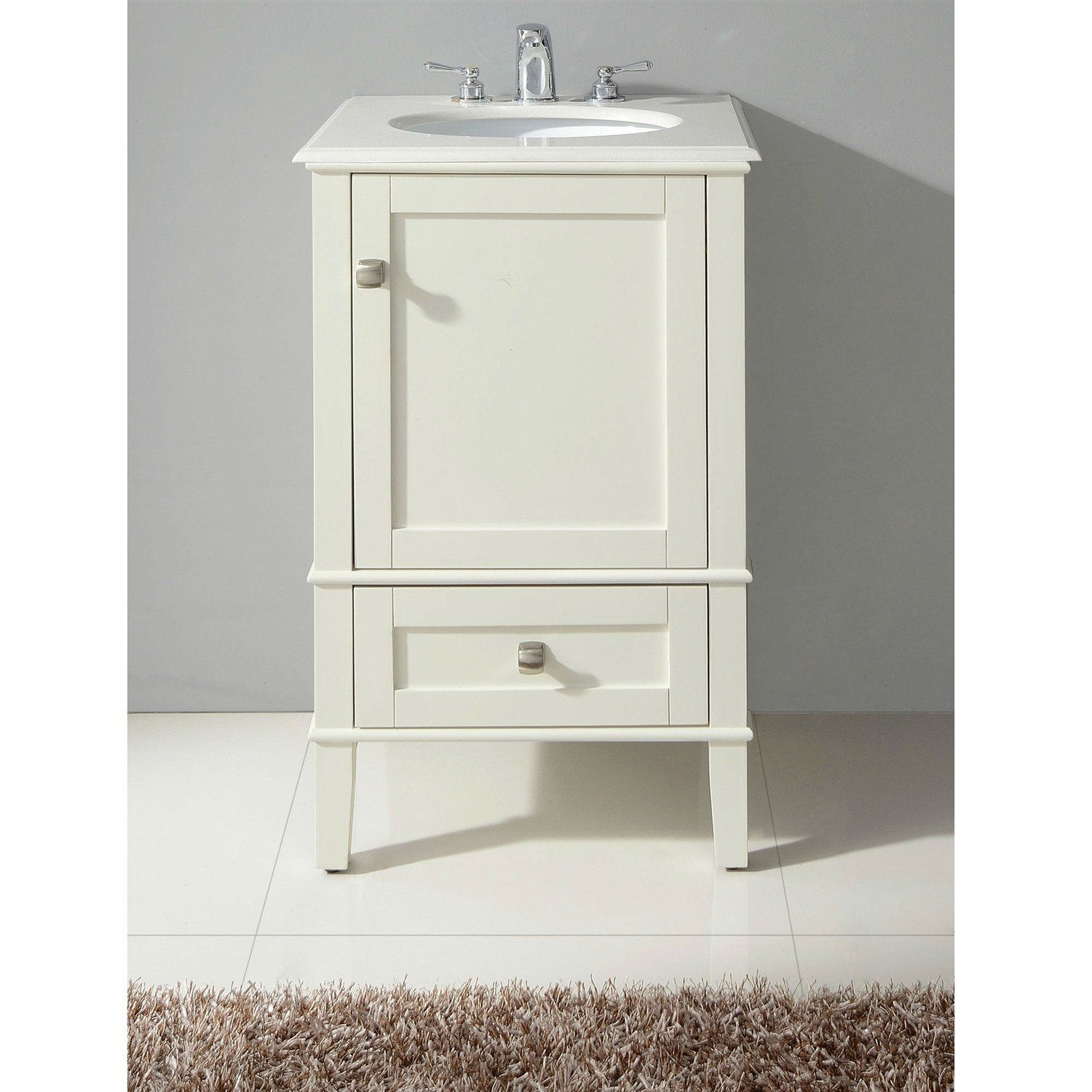 This 21 Inch Single Bathroom Vanity Set With Off White Marble Top