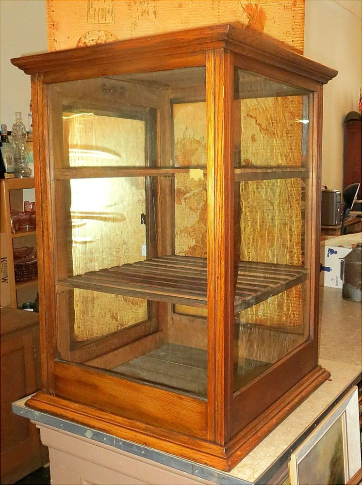 Nice Antique Oak General Store Countertop Display Case Cabinet