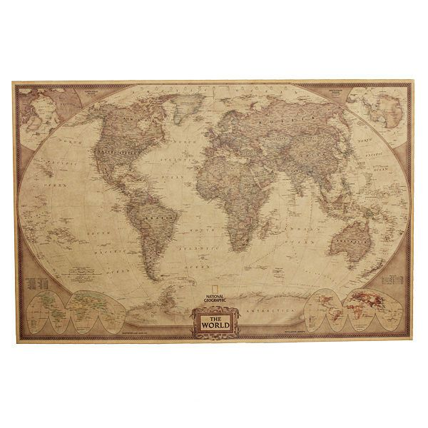 Vintage antiguo mapamundi paper poster world map grfico pared decor vintage old world map poster world map graphic paper wall decor home ebay gumiabroncs Choice Image