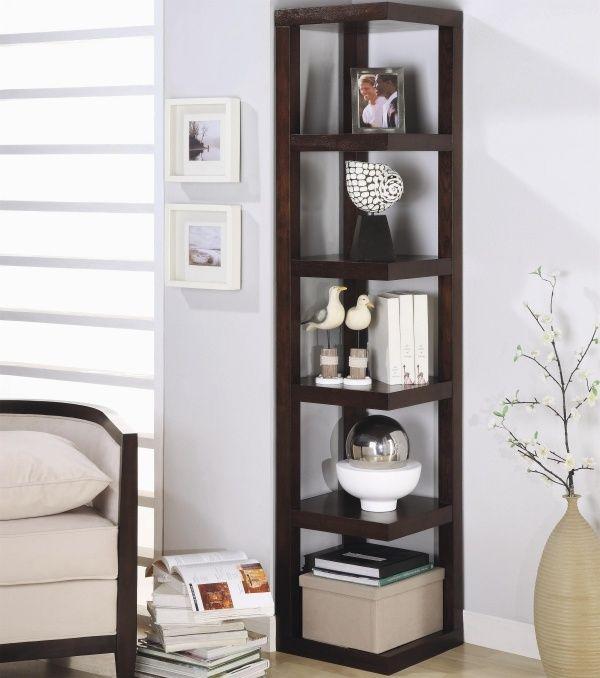 Eckregal Stand Holz Platzsparendes Design Wohnzimmer