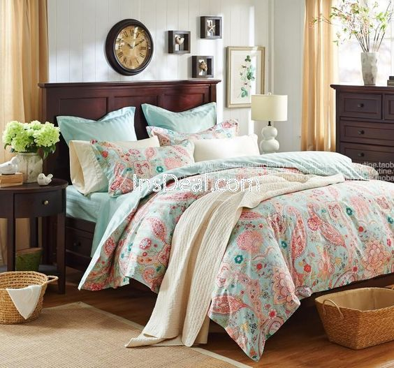 Romantic Teal Turquoise Bedding Set Girls Vintage Floral Duvet