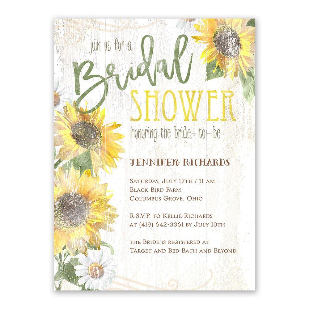 Sunflower Charm Bridal Shower Invitation Bridal