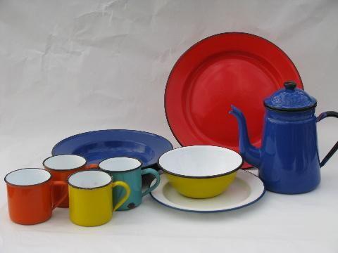 Vintage Colored Enamelware Dishes