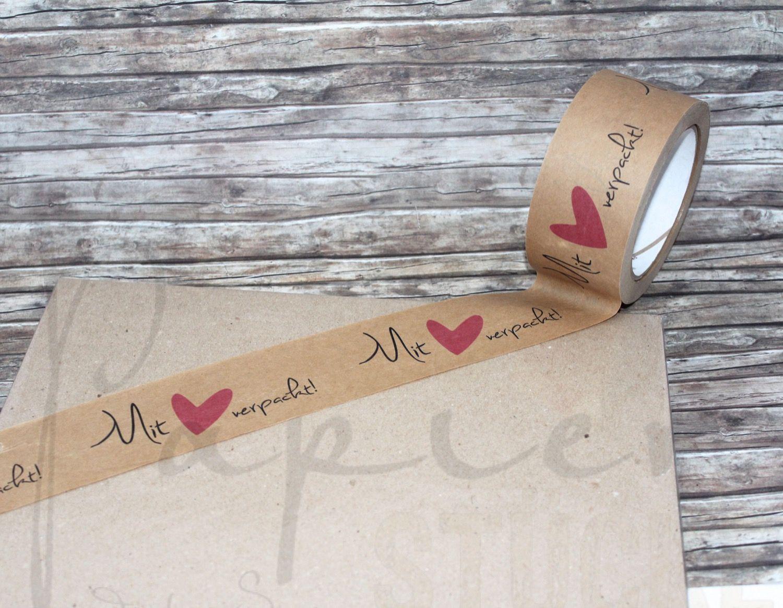 """wunderschönes kraftpapier-paketklebeband """"mit liebe verpackt"""
