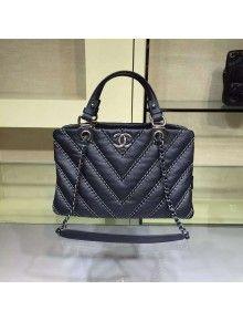 Chanel Large Leather Chevron Stitch Shoulder Tote Bag In Black 2015 2016 df89093f8d