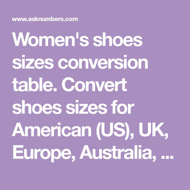 Us womens shoe size conversion to australian