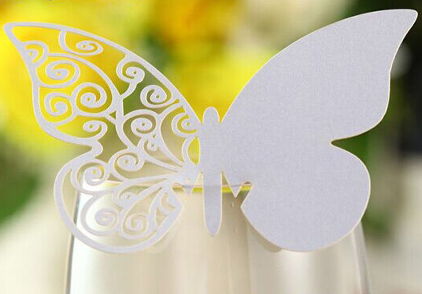 Laser Cut Butterfly Wedding Favor Mark Wine Glass Cards Table Name ...