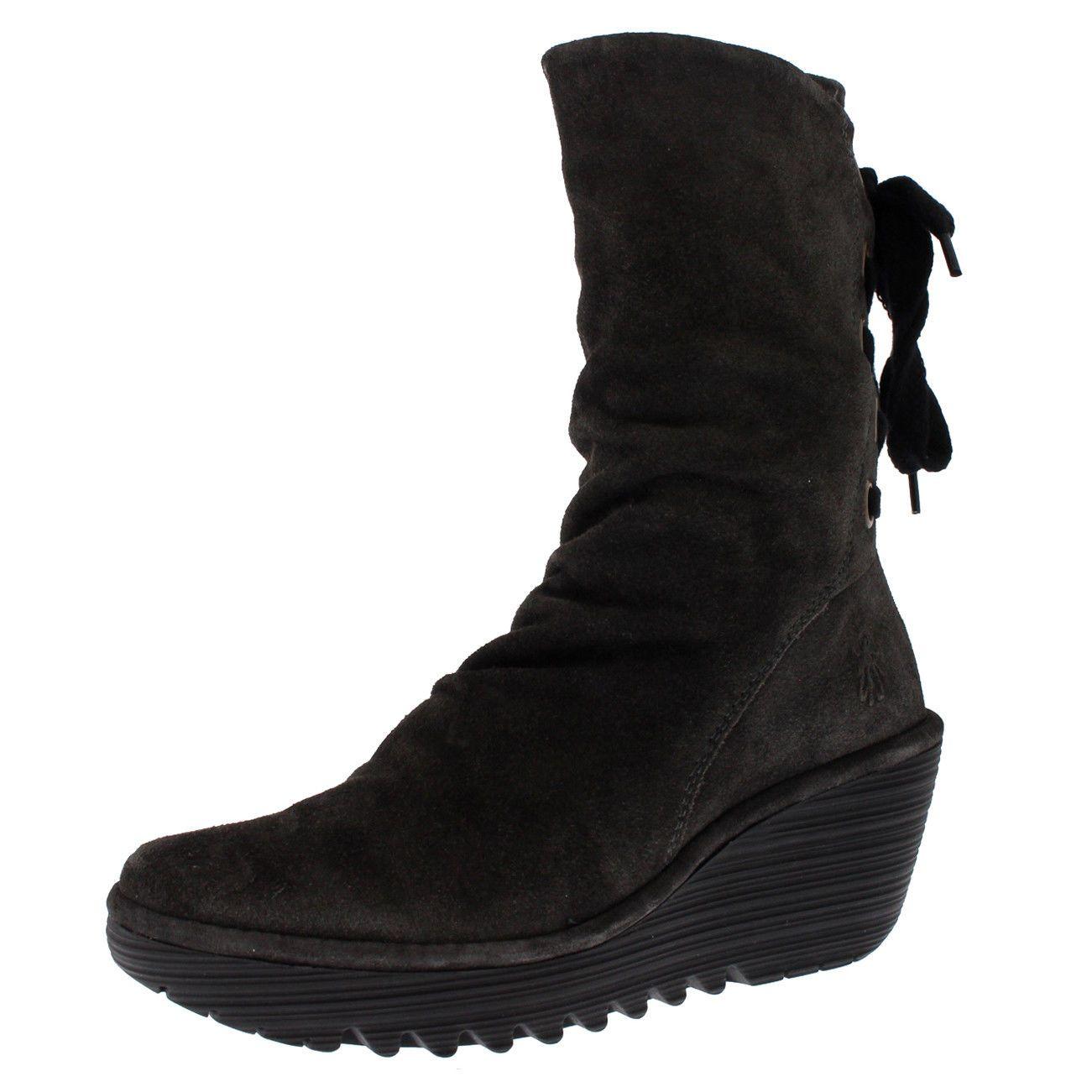 Womens Yada Winter Suede Wedge Heels Diesel Mid Calf Boots