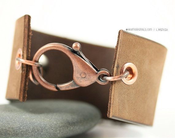 LOVE THE CLASP! Leather Cuff Bracelet Copper Wire Wrap and Beads by WhimOriginals, $120.00
