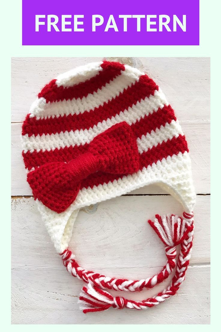 This fun, free & easy to follow Candy Cane Stripes Beanie crochet pattern from Lovable Loops is perfect for beginners. It is written for all sizes; baby, toddler, child and adult. Hat is worked with double crochet stitches in the round from the top down. This easy and simple crochet project would be perfect for baby's first Christmas or as a gift for a child, friend or loved one. Video tutorial included. #crochethat #lovableloops #beginnercrochet #freecrochetpattern #christmashat