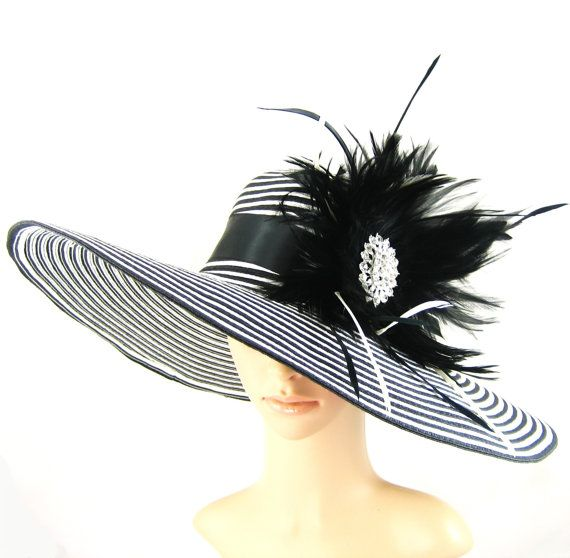 Black and White Derby Hat with rhinestone -Kentucky Derby Hat- Dressy Hat -Church  Hat -Wide Brim Hat -Wedding Tea Party Ascot 18629a53354c