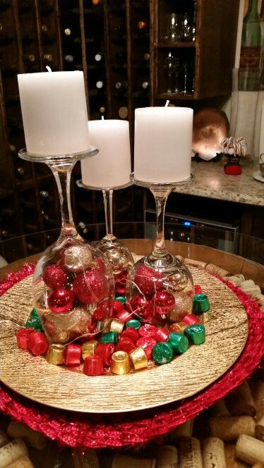 Made A Centerpiece With Wine Glasses Candles Christmas Ornaments And Mini Led Lights Added So Centerpieces With Wine Glasses Mini Led Lights Wine Glasses