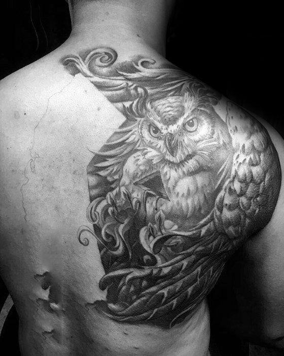 150b80d59808f 40 Owl Back Tattoo Designs For Men - Cool Bird Ink Ideas   Tattoo ...