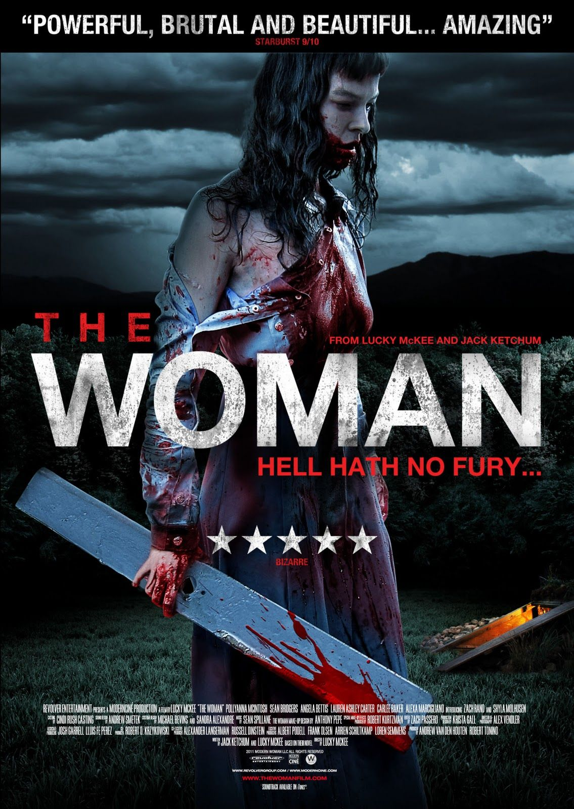 "The Woman(2011)--OH MY GOD I cannot say enough about the awesomeness of this movie.  A psycho sadist father captures a feral woman and brings her back to his family so he can ""tame"" her.  Let the torture and depravity ensue.  This movie is full of plot twists that you do not see coming.  The acting is awesome by everyone in this film and the end will leave you speechless, shocked and with a sense of triumph.  Very disturbing, graphic, violent, and AWESOME.  Do not miss this film."