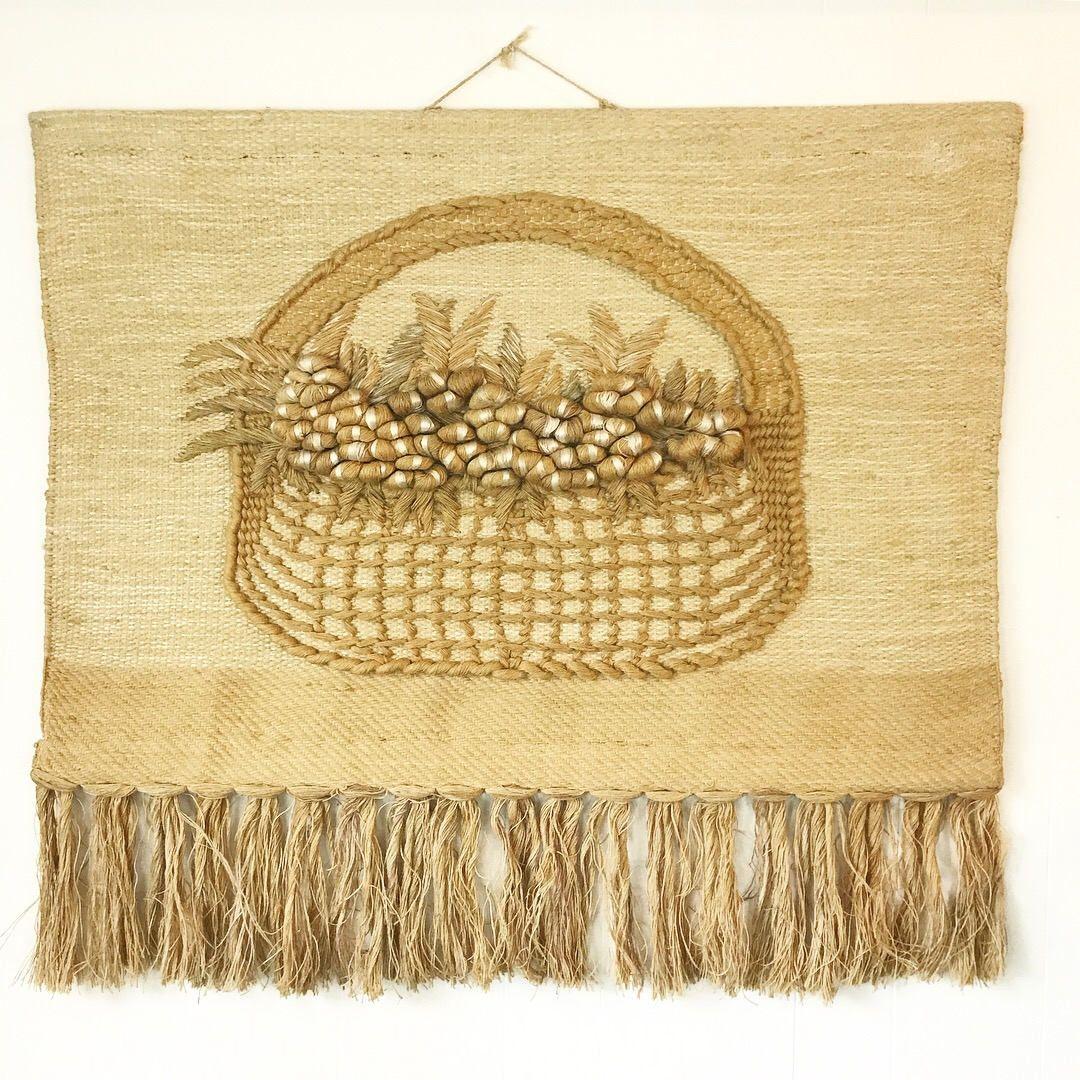 vintage wall weaving - large woven fiber art sculpture - Don ...