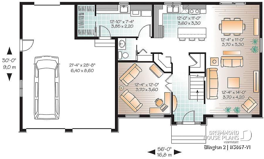 house plan Ellington 2 No. 3867V1 House plans