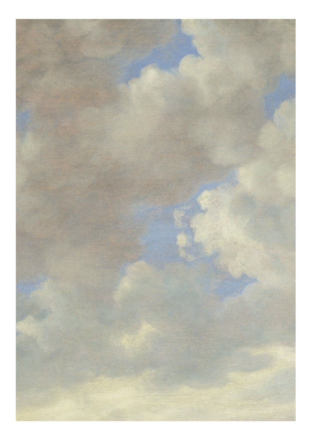 This collection of cloudy skies are sections of famous paintings from the 15th century. They are painted by Dutch masters so you can see the brush strokes clearly. It looks like the clouds have really been painted on your wall. The interior also feels bigger and more spacious with one of these beautiful clouds on your wall. This wallpaper pattern is printed upon order. Please allow up to 2 weeks to ship out and receive tracking. Material: High quality non-woven wallpaper (165 grams, extra matte)