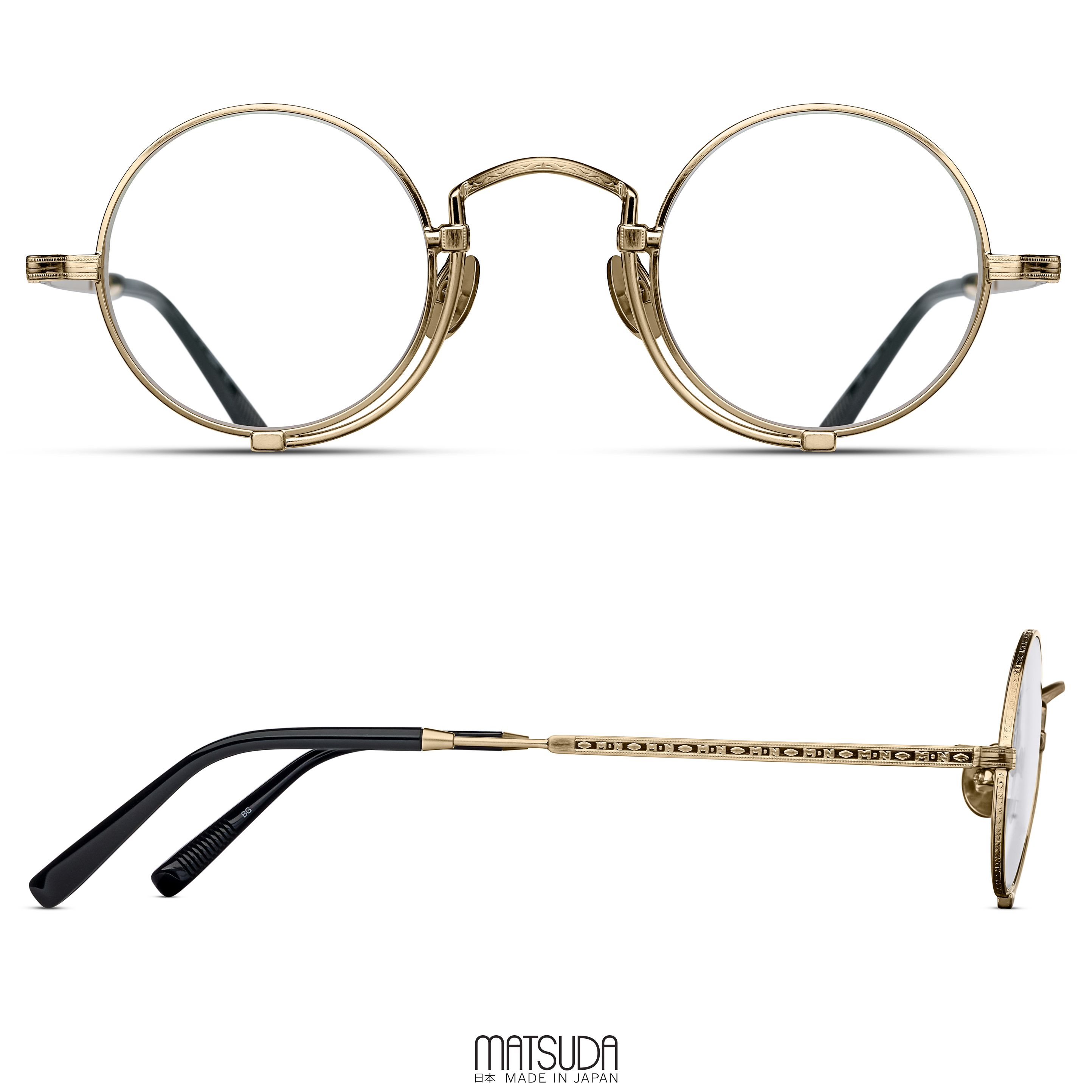 1083ae7b9 The MATSUDA EYEWEAR // 10103H Eyeglasses for men and women offers a unique  round optical with pince-nez inspired construction and functional nose-pads.