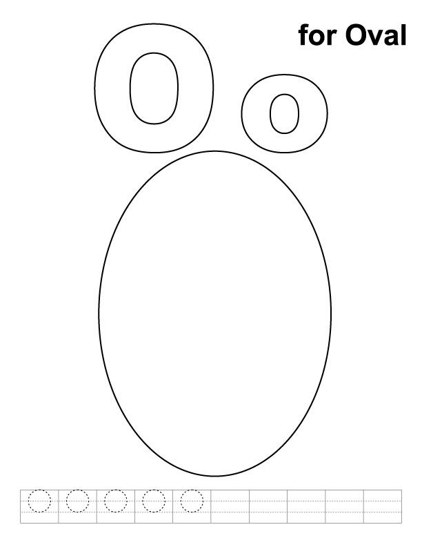 O For Oval Coloring Page With Handwriting Practice Download Free