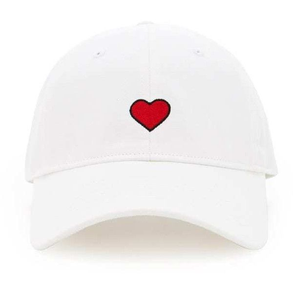 293e9c31792 Forever21 Embroidered Heart Dad Cap ( 9.90) ❤ liked on Polyvore featuring  accessories