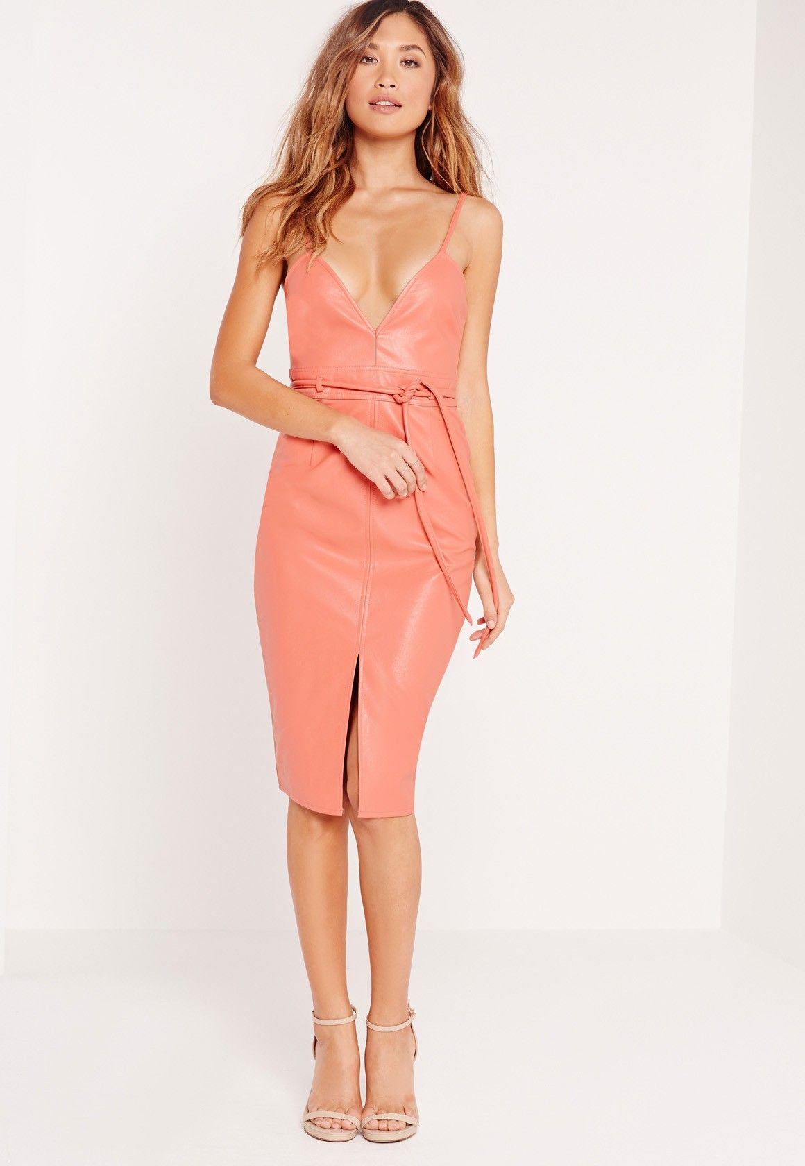 Faux Leather Strappy Bodycon Dress Salmon   cyrielle crushes   Robe ... 683dcab73e6d