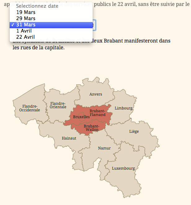 Map with date select box to view when and where social protest will take place in Belgium