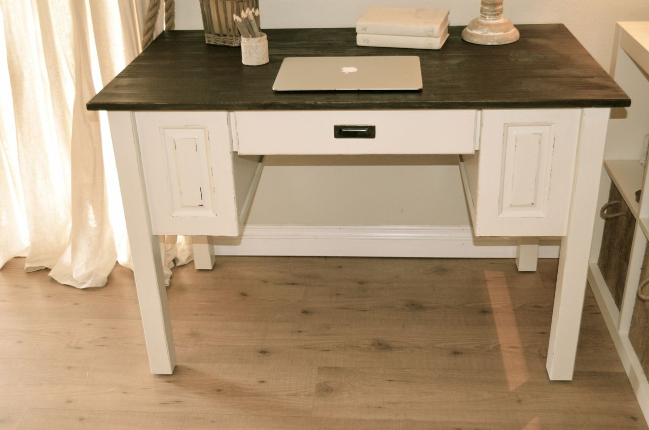 Farmhouse style computer desk, distressed antique white and brown top. By  Analia Pastori Interior Design - Farmhouse Style Computer Desk, Distressed Antique White And Brown