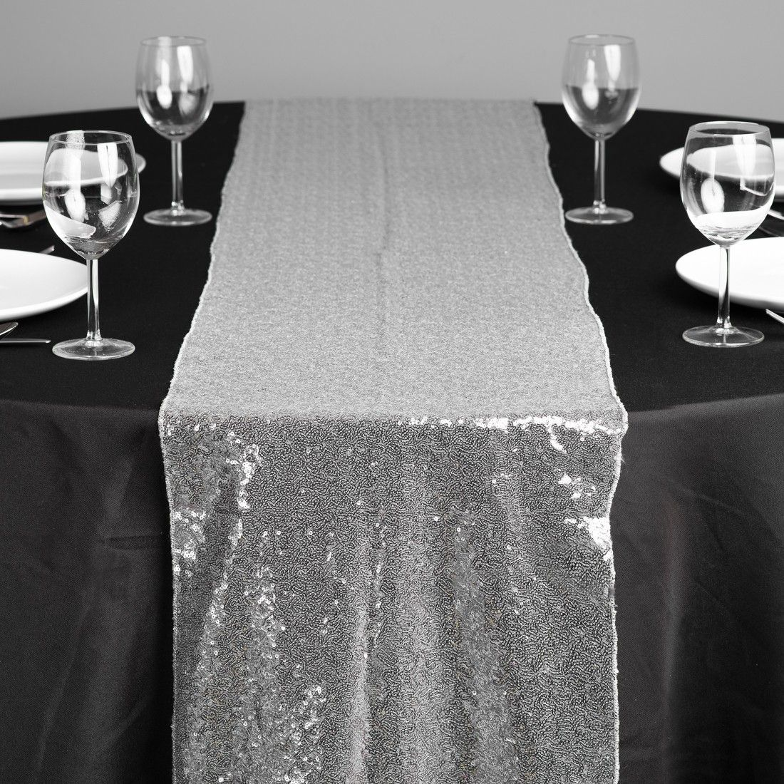 Sequin Table Runner Silver For Head Maybe