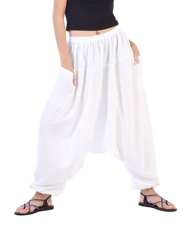 6b35271145 Women's Clothing, Active, Active Pants, Men Women Cotton Baggy Hippie Boho  Gypsy Aladdin Yoga Harem Pants - White - CO11H4AWLK7 #Clothing #fashion  #Active ...