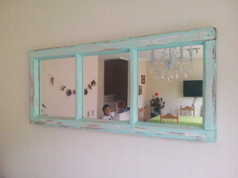 ventana reciclada decapada con espejos para mi living