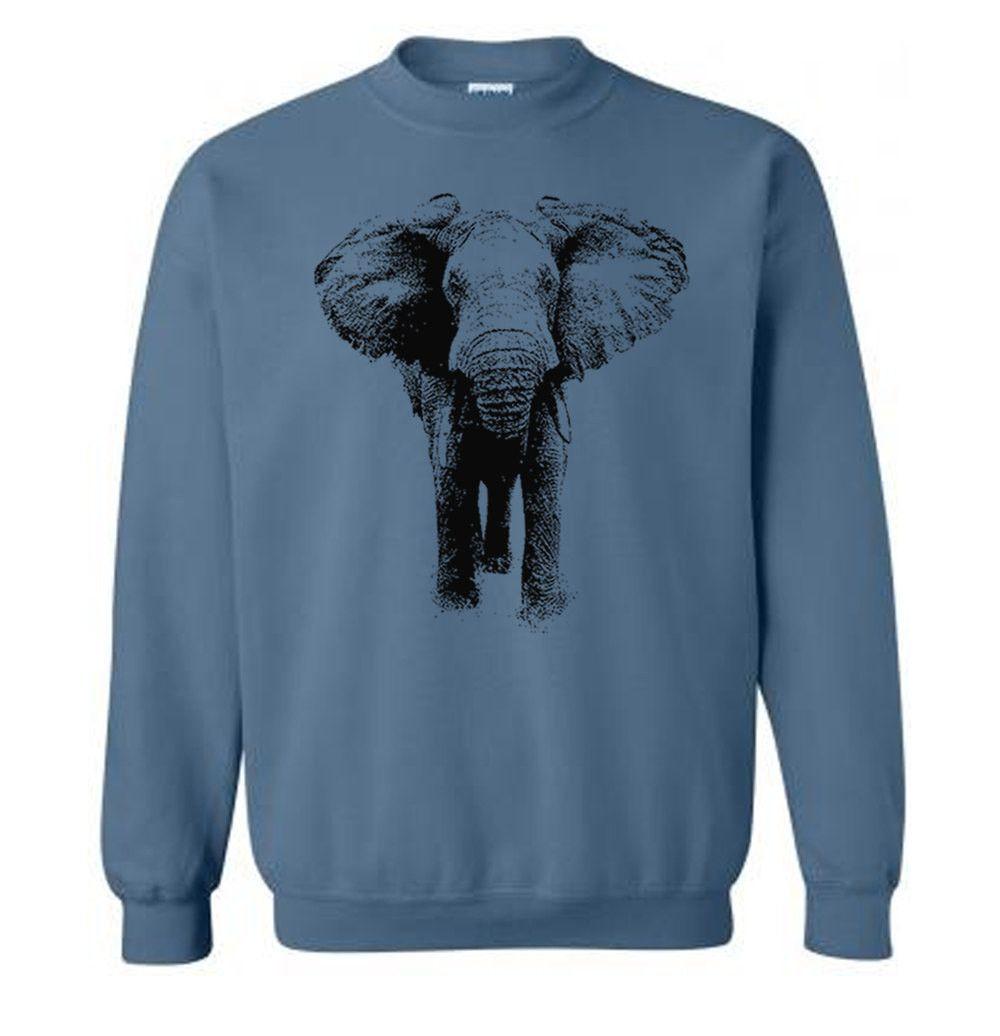 Elephant Sweater - Unisex Fleece Pullover Sweatshirt - Unisex - Men ...