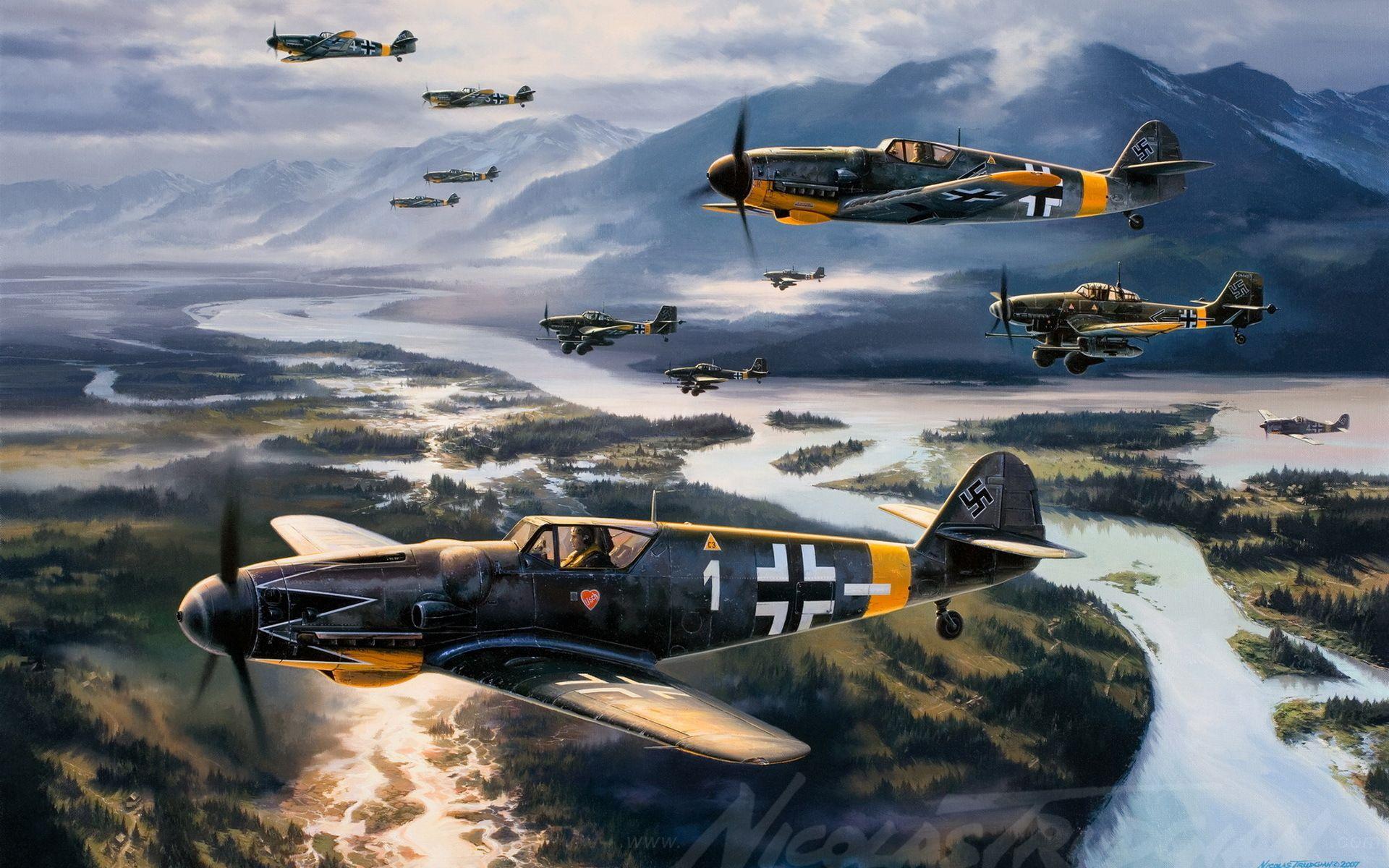 Обои Bf 109 k4, war, painting, german fighter, ww2, aviation. Авиация foto 11