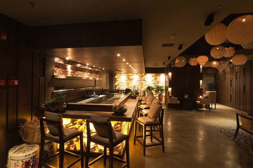 Sushi restaurant lighting the bar at 'lang