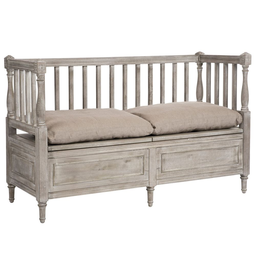 Washed Gray Wood Storage Bench With Images Grey Storage Bench