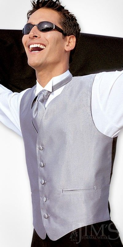 A Black Suit With Silver Vest And Tie For My Wedding Colors