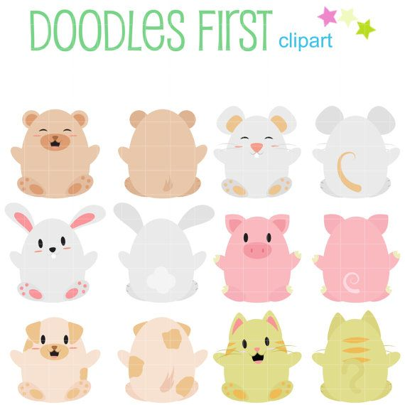 cute animals front and back clip art for scrapbooking card making