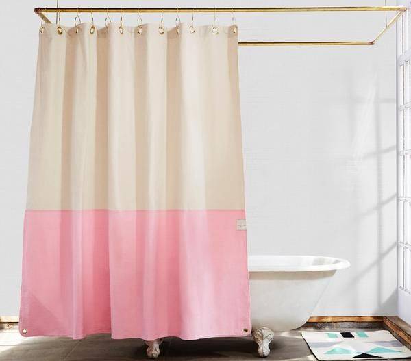 Orient Clay Color Blocked Shower Curtain Badkamer
