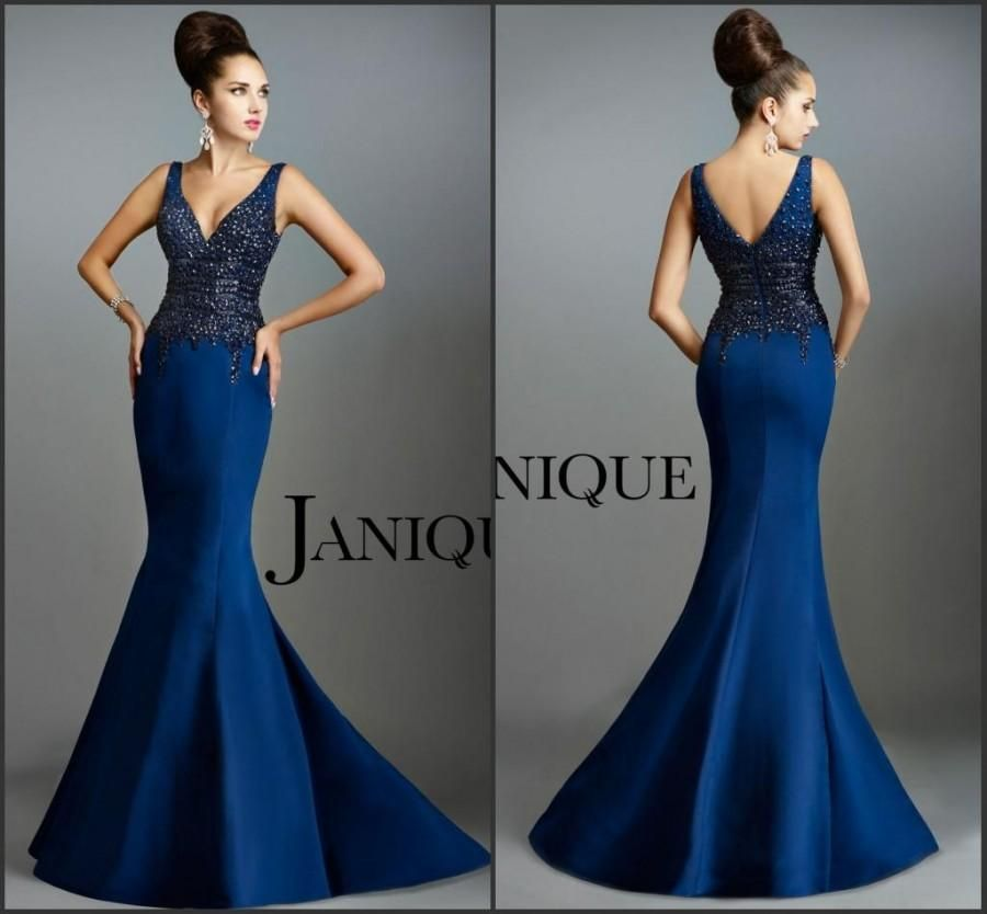 a604a9fac26e New Arrival Mermaid Evening Dresses Blue Party Sheath Bodice Prom Dresses  Heavy Beaded Crystal V-Neck Full Length Satin Gowns by Janique Online with  ...