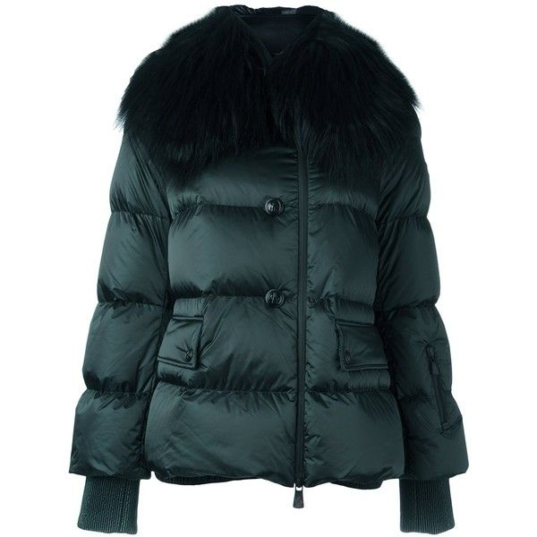 Moncler Grenoble padded jacket (39490915 BYR) ❤ liked on Polyvore featuring outerwear, jackets, green, fur jacket, feather jacket, green fur jacket, padded jacket and blue jackets