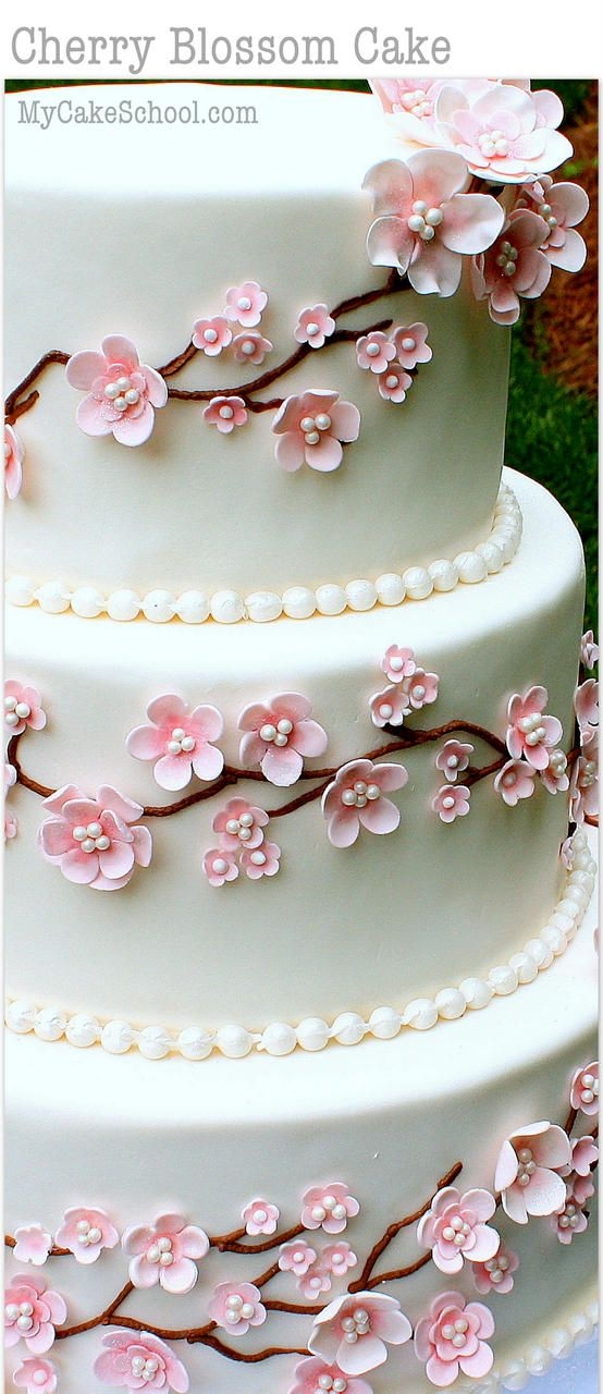 Cherry Blossom Cake Video Tutorial By My Cake School Cake Decorating Designs Cherry Blossom Cake Cake Decorating Videos