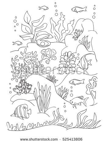 Coloring book page, black and wight. Ocean bottom with sea inhabitants and seaweed. Doodle style, hand draw.